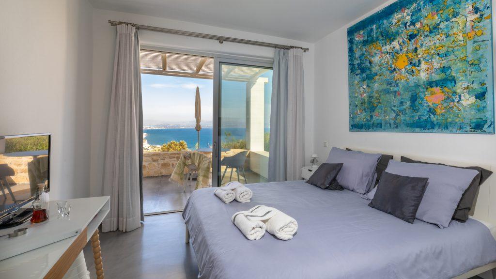 Studio interior; private terrace with seaview